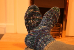 Blue Slip Stitch Socks