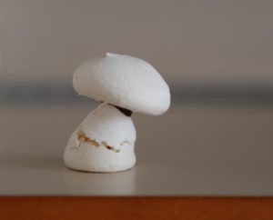 meringue with a drop of bittersweet chocolate